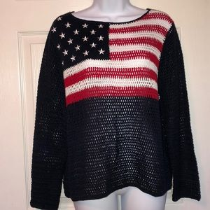 Vintage Norton American Flag Crocheted Sweater PL